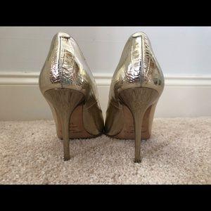 Jimmy Choo Shoes - Gold croc embossed Jimmy Choo pumps